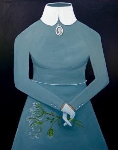 Blue Dress with Cameo